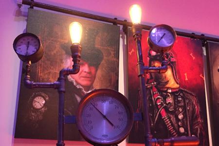 Custom-designed Steampunk Lights for Mirrorball Agency