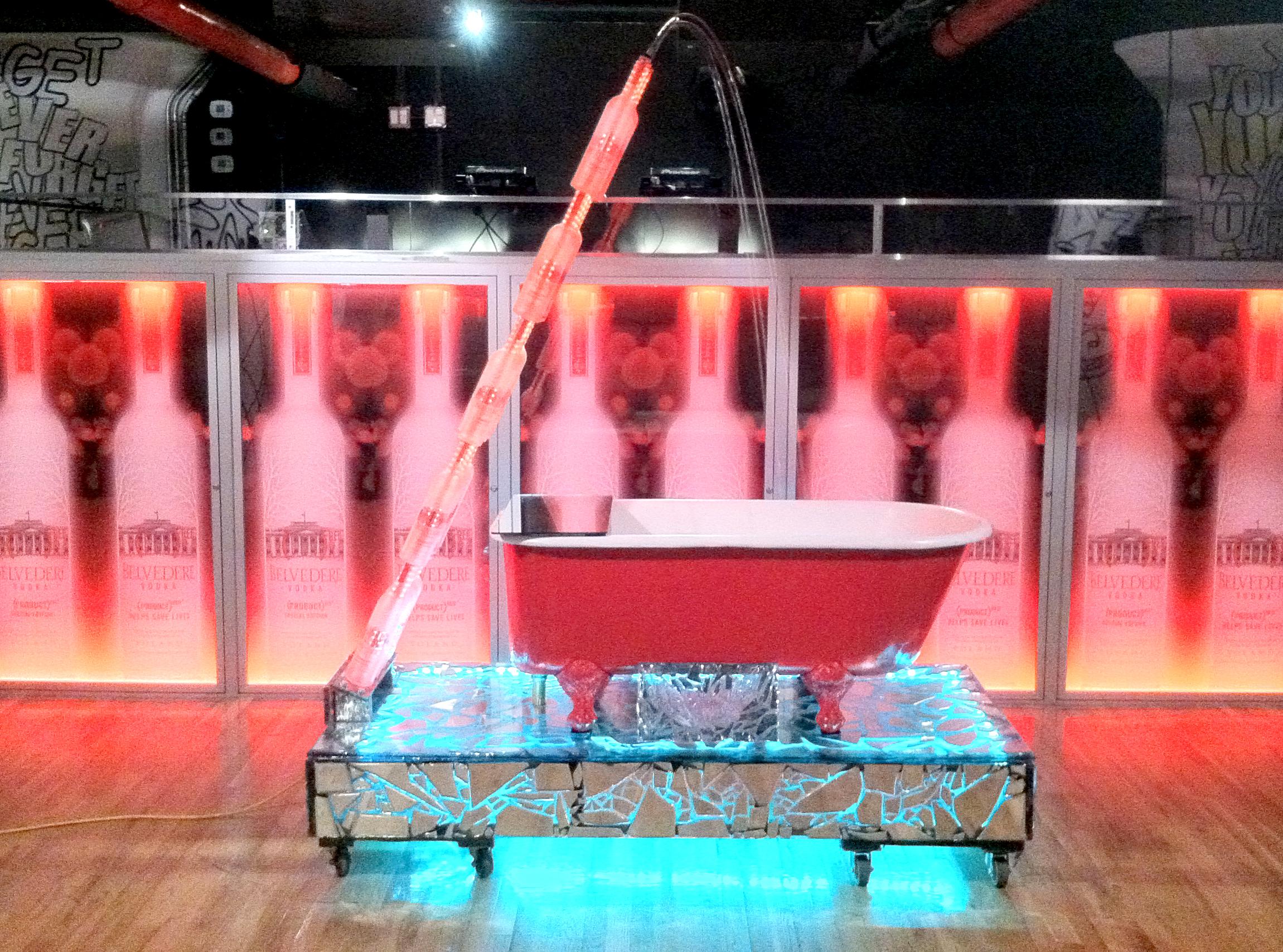 Front view of custom fabricated bathtub art installation for WIP nightclub.